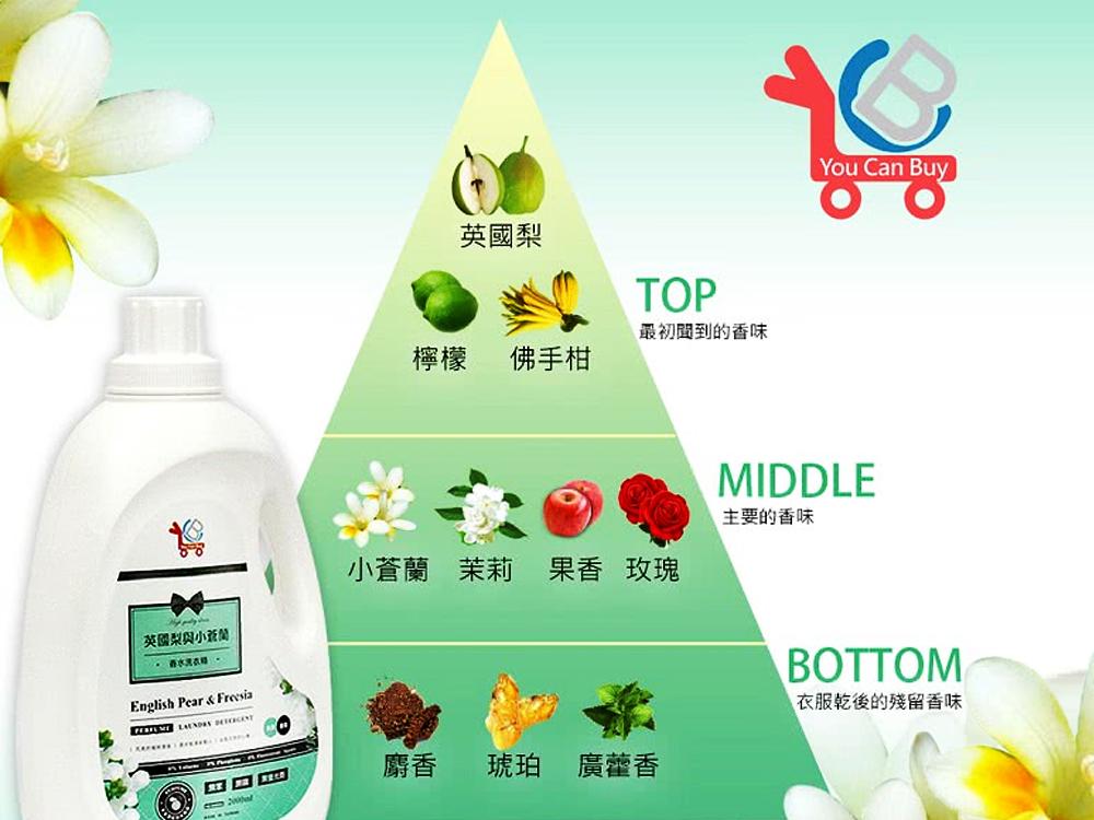 【英國梨與小蒼蘭】YCB 小蒼蘭大容量洗衣精,媽媽的推薦、洗衣機的加持;帶有森林清香的味道